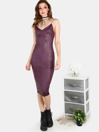 Faux Leather Cord Strap Bodycon Dress PURPLE