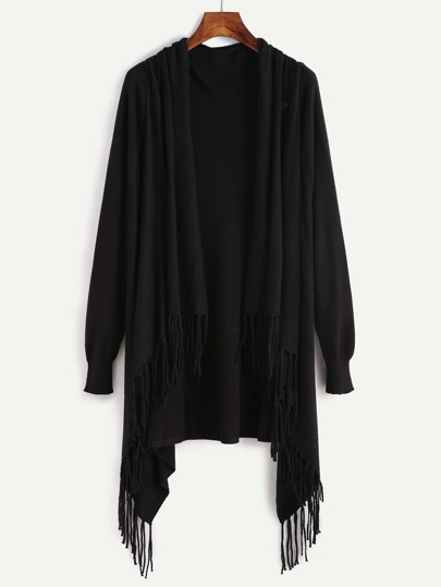 Black Fringe Trim Drape Collar Wrap Sweater Coat
