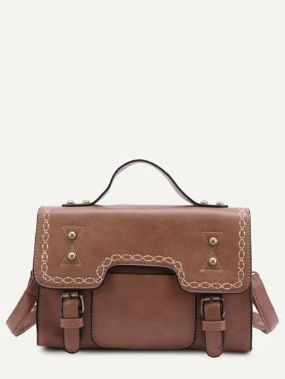 Khaki Faux Leather Studded Vintage Satchel Bag