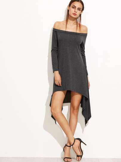 Heather Grey Off The Shoulder Asymmetric Dress