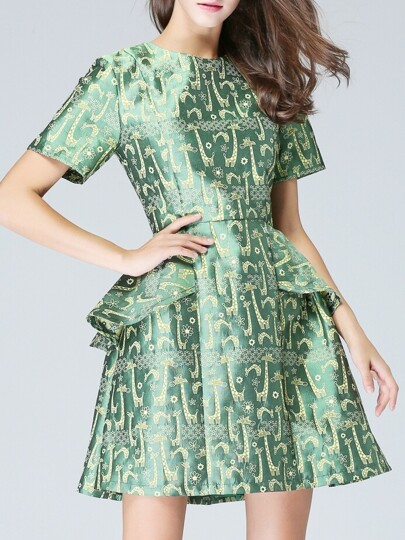 Green Crew Neck Ruffle Jacquard A-Line Dress