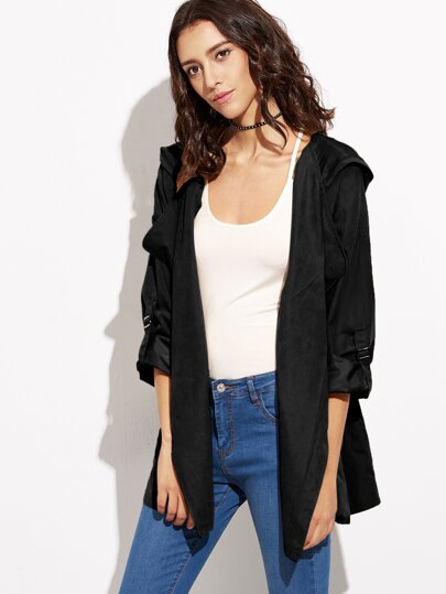 Black Drawstring Pockets Hooded Coat