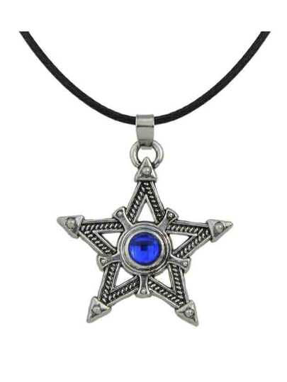 Vintage Rhinestone Star Shape Pendant Necklace For Women