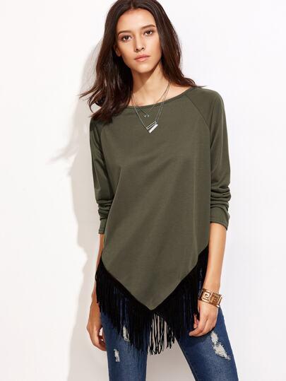 Olive Green Raglan Sleeve Fringe Hem Asymmetric T-shirt