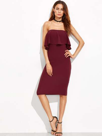 Burgundy Ruffle Bandeau Pencil Dress