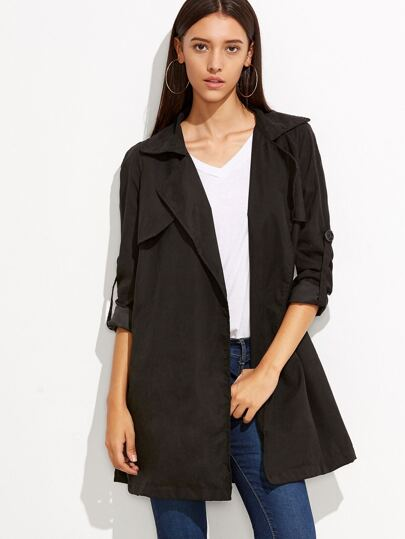 Black Roll Sleeve Split Back Duster Coat