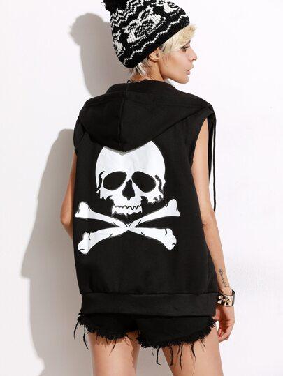 Black skull Print Back Drawstring Hooded Vest