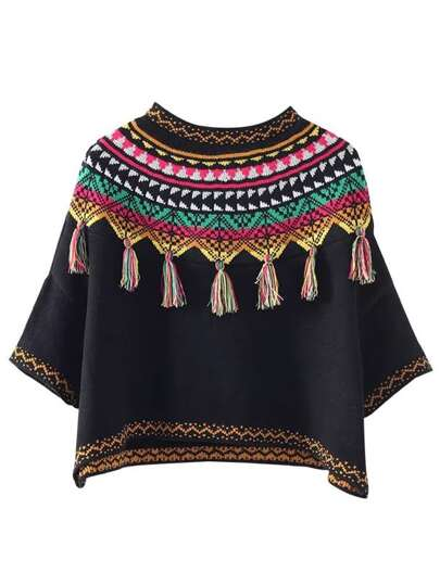 Black Tribal Print Fringe Detail Sweater