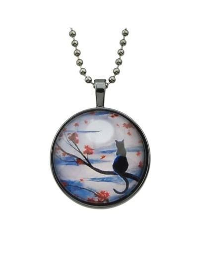 Flower Cat Round Pendant Necklace