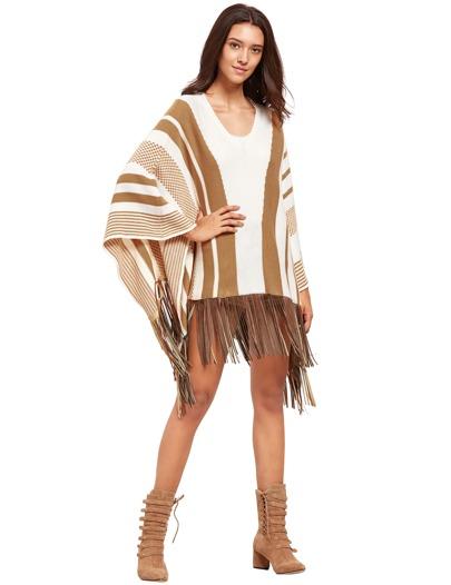 White Striped Batwing Sleeve Tassel Hem Sweater