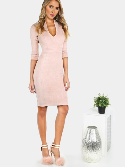 Quarter Sleeve Suede Bodycon Dress MAUVE