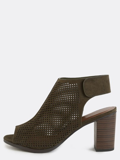 Preforated Velcro Ankle Boots OLIVE