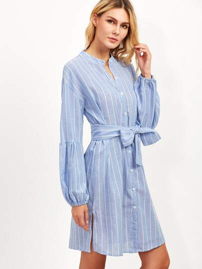 Blue Vertical Striped Lantern Sleeve Belted Shirt Dress