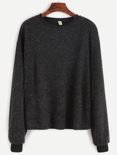 Contrast Trim Drop Shoulder Ribbed Sweater