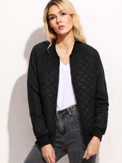 Quilted Padded Bomber Jacket With Sleeve Zip
