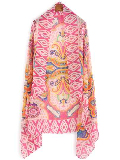 Pink Tribal Print Voile Scarf