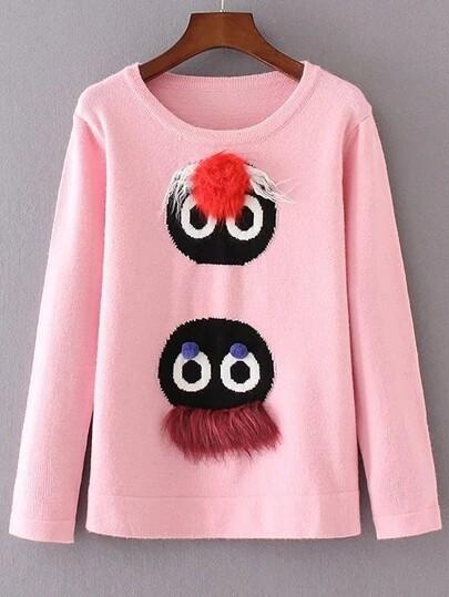 Pink Cartoon Pattern Fur Embellished Sweater