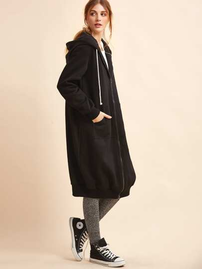 Sudadera larga con capucha y bolsillo - negro