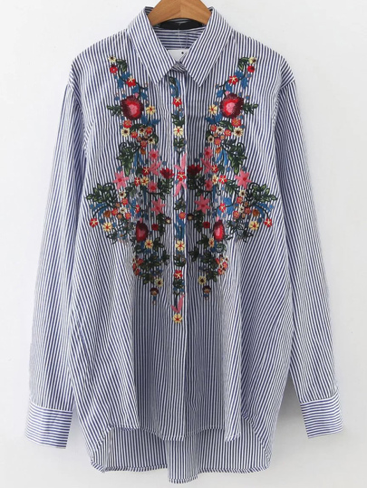 Blue Vertical Striped Flower Embroidery Dip Hem Blouse