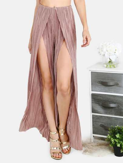 Pleated Split Wide Leg Pants COPPER