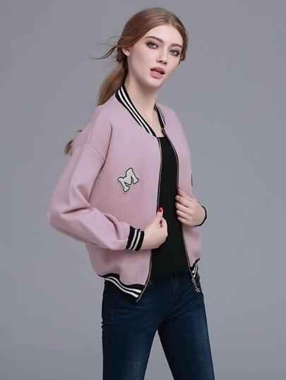 Pink Striped Trim Patch Lantern Sleeve Jacket