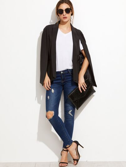 Black Shawl Collar Cape Blazer