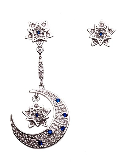 Silver Moon Star Rhinestone Asymmetrical Earrings