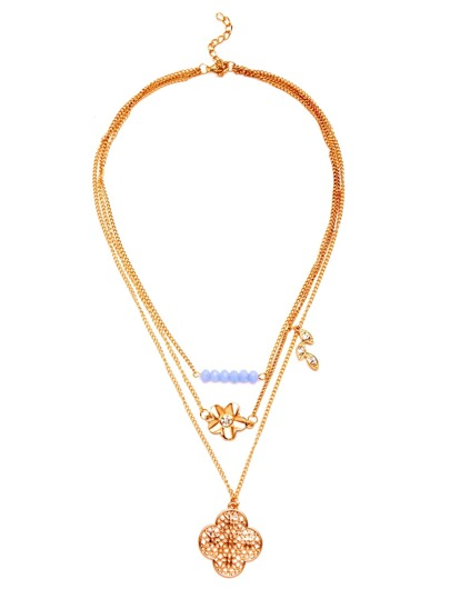 Gold Layered Four Leaf Clover Pendant Necklace