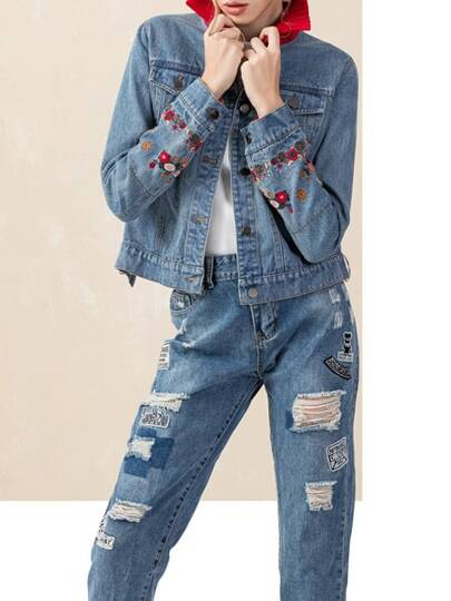 Blue Lapel Flowers Embroidered Denim Coat
