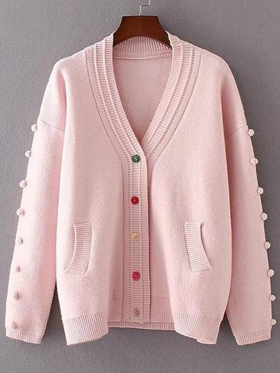 Pink Single Breasted Pom Pom Cardigan