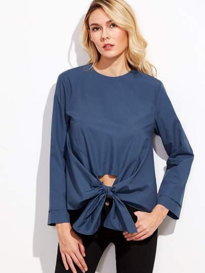 Blue Button Back Blouse With Asymmetrical Hem