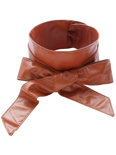 Camel Faux Leather Bow Wrap Wide Belt