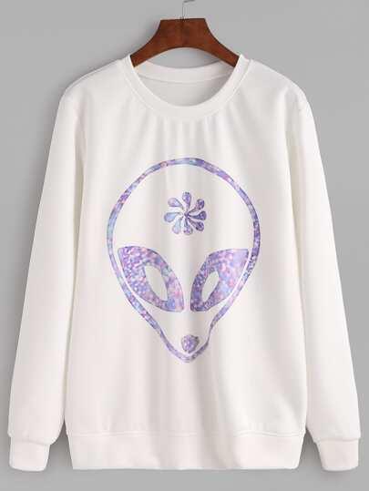 White Alien Print Sweatshirt