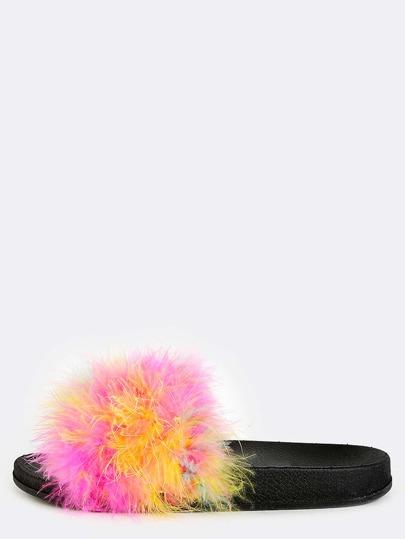 Multicolor Feather Slide Sandals MULTI