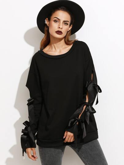 Black Drop Shoulder Split Sleeve Bow Tie Sweatshirt