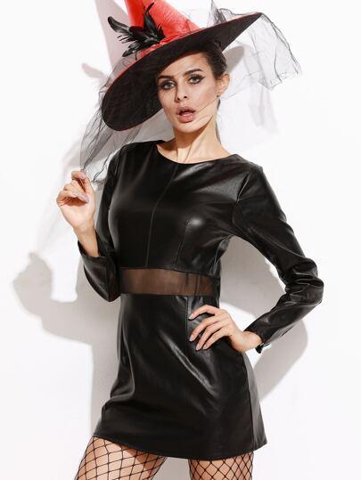 Black Contrast Mesh Faux Leather Dress