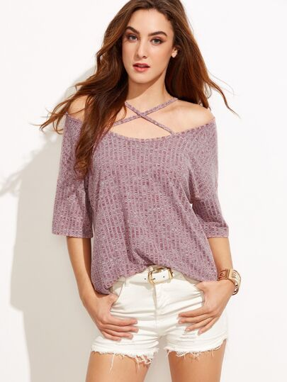 Burgundy Marled Crisscross Cold Shoulder T-shirt