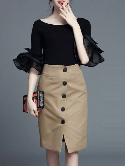 Black Bell Sleeve Top With Skirt