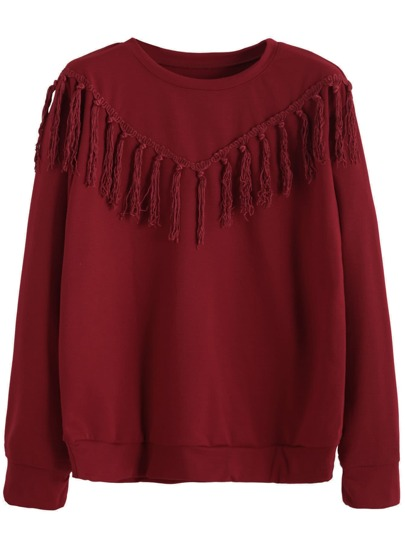 Burgundy Tassel Trim Sweatshirt