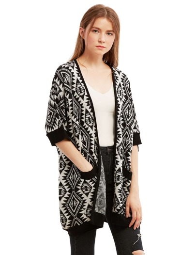 Black and White Half Sleeve Pockets Sweater Cardigan