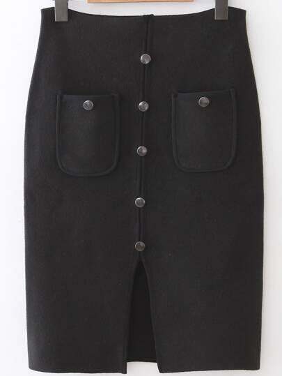 Black Front Pocket Button Up Slit Bodycon Skirt
