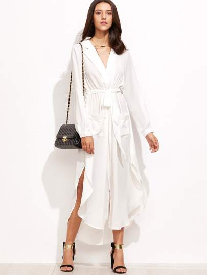 White Curved Hem Belted Trench Dress
