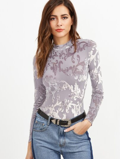Pale Purple Vine Pattern Long Sleeve Bodysuit