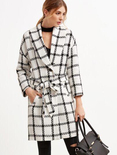 Manteau à plaid col châle avec ceinture