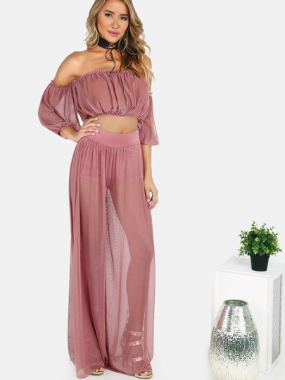 Mesh Bardot Crop Top & Wide Leg Mesh Pants Set MAUVE