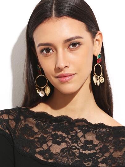 Gold Plated Flower Leaf Rhinestone Circle Drop Earrings