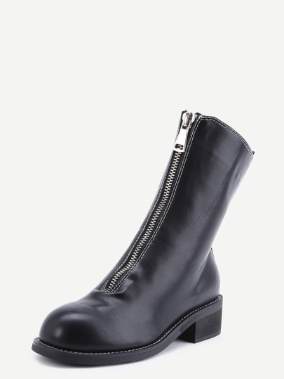 Black Faux Leather Round Toe Front Zipper Boots