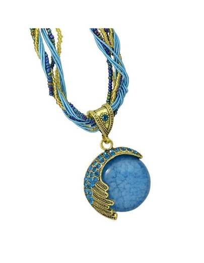 Blue Beads Chain  Pendant Necklace