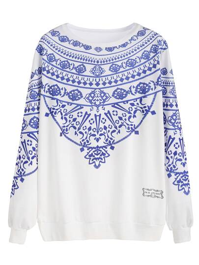 White Vintage Print Sweatshirt