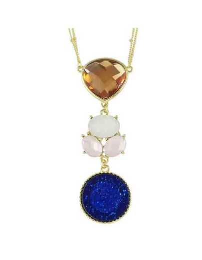 Colorful Rhinestone Pendant Necklace
